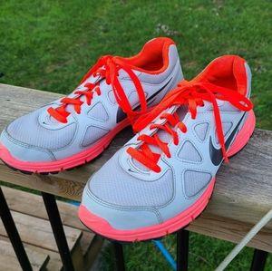 Nike Contrasting Sneakers, Silver, Orange, 8.5 W